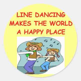 line dancing classic round sticker
