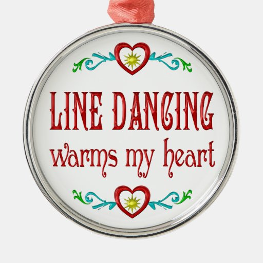Line Dancing Warms My Heart Round Metal Christmas Ornament