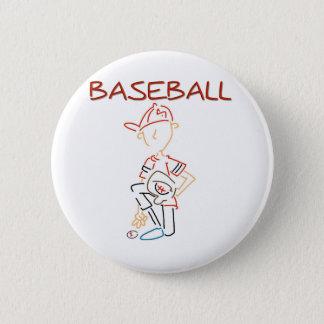 Line Drawing Baseball Button