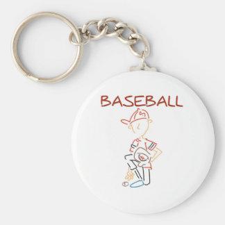 Line Drawing Baseball Keychain