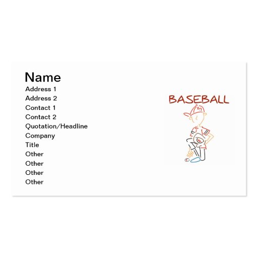 Line Drawing Baseball T-shirts and Gifts Business Card