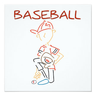Line Drawing Baseball T-shirts and Gifts 5.25x5.25 Square Paper Invitation Card