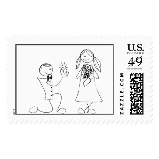 Line Drawing Bride And Groom Postage Stamps