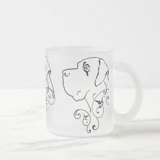 Line Drawing Great Dane Head 10 Oz Frosted Glass Coffee Mug