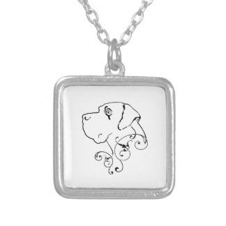 Line Drawing Great Dane Head Square Pendant Necklace