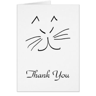 Line Drawing of a Cat Thank You Card