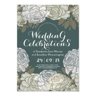 Line Drawing Rose Spring Wedding Card