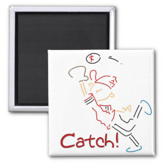 Line Drawn Baseball Catch 2 Inch Square Magnet