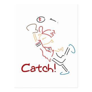 Line Drawn Baseball Catch Postcard