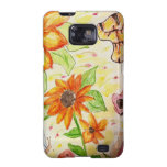 Line flowers and butterflies samsung galaxy SII cases