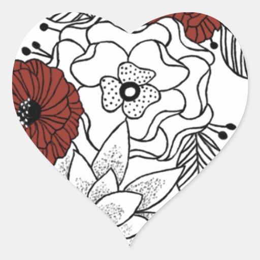 Line Flowers Heart Sticker