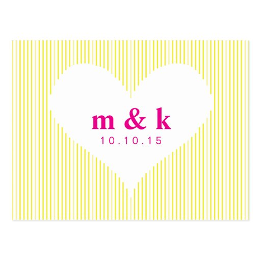 Line Heart - Yellow & Pink Save the Date Post Cards