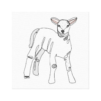Line Lamb Canvas Print