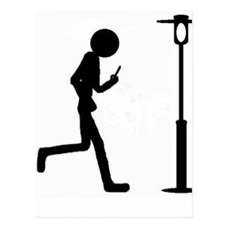 Line man runs in lantern postcard