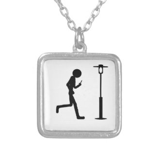 Line man runs in lantern square pendant necklace