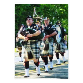 Line of Bagpipers Card