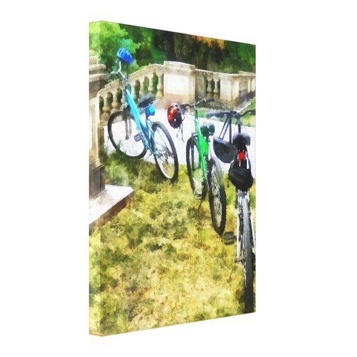 Line of Bicycles in Park Stretched Canvas Prints