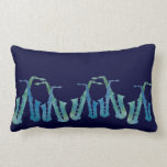Line of Cool Blue Saxophones Pillow