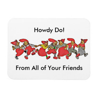 Line of Dancing Gnomes Magnet
