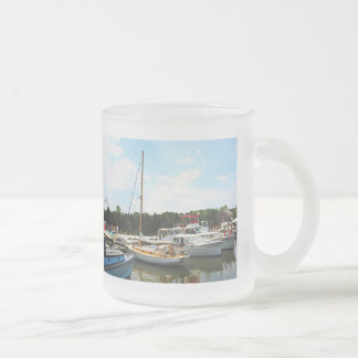 Line of Docked Boats Frosted Glass Coffee Mug