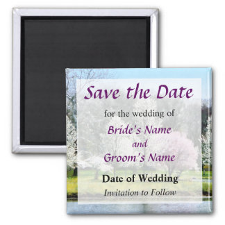 Line of Flowering Trees Save the Date Magnet