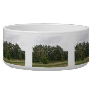 Line of Leaning Trees Landscape Dog Bowl