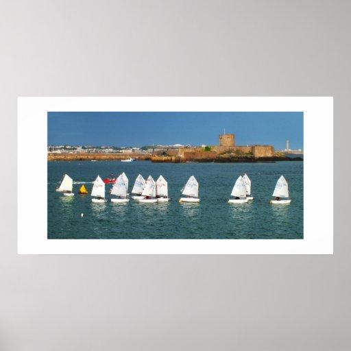 Line of Optimist boats Poster