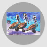 LINE OF PELICANS ROUND STICKERS