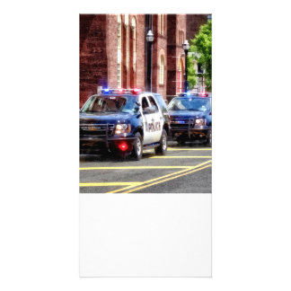Line of Police Cars Card