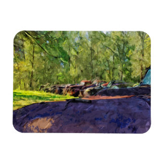 Line of Rusty Old Cars and Trucks Abstract Magnet