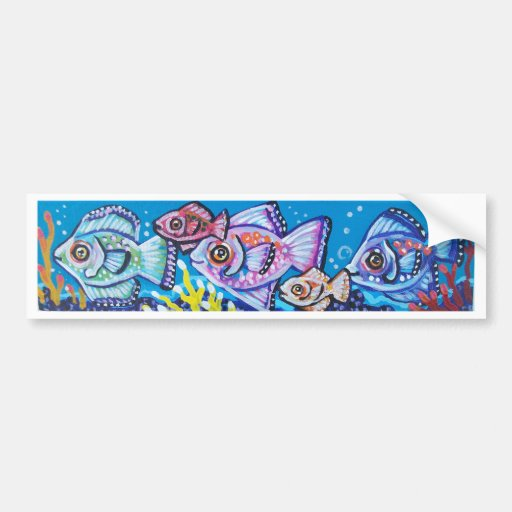 LINE OF TROPICAL FISH BUMPER STICKERS