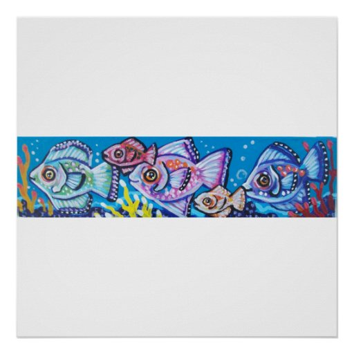 LINE OF TROPICAL FISH POSTER