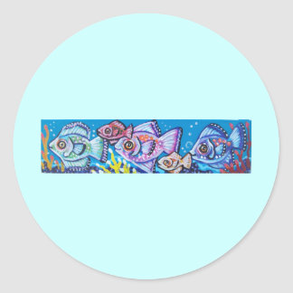 LINE OF TROPICAL FISH ROUND STICKERS