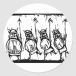 Line of Vikings Round Stickers