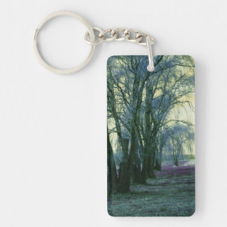 Line of Weeping Willow Trees Double-Sided Rectangular Acrylic Keychain