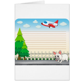 Line paper desing with dog on sidewalk card