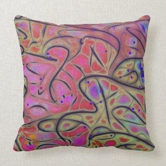 Line Play 17 Vivid Cheerful Abstract Throw Pillows