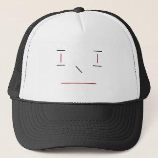 Line Smiley Simple Red Black White Hipster Modern Trucker Hat