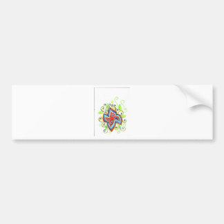 Line Tatoo Flower Bumper Sticker