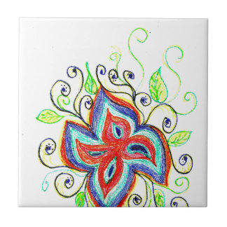 Line Tatoo Flower Ceramic Tile