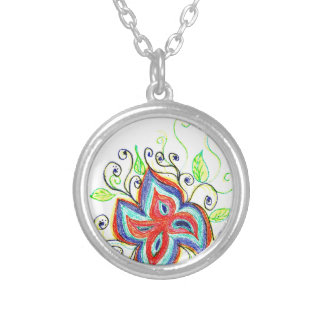 Line Tatoo Flower Round Pendant Necklace