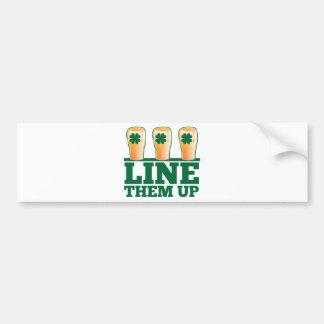 Line them UP green pints Irish Beer Bumper Sticker