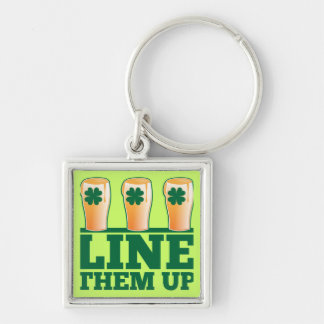 Line them UP green pints Irish Beer Keychain