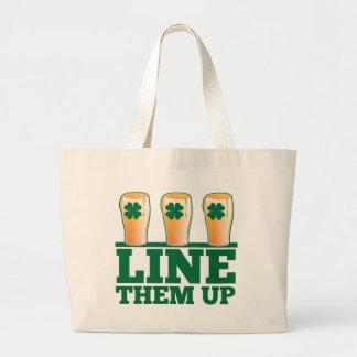 Line them UP green pints Irish Beer Large Tote Bag