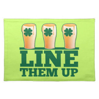 Line them UP green pints Irish Beer Placemat