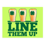 Line them UP green pints Irish Beer Post Cards