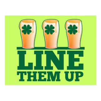 Line them UP green pints Irish Beer Postcard