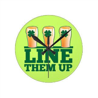 Line them UP green pints Irish Beer Round Clock