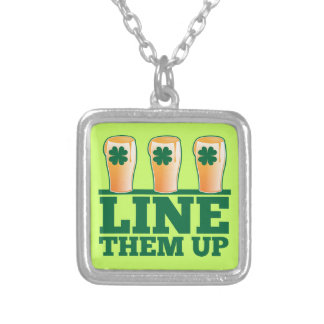 Line them UP green pints Irish Beer Square Pendant Necklace