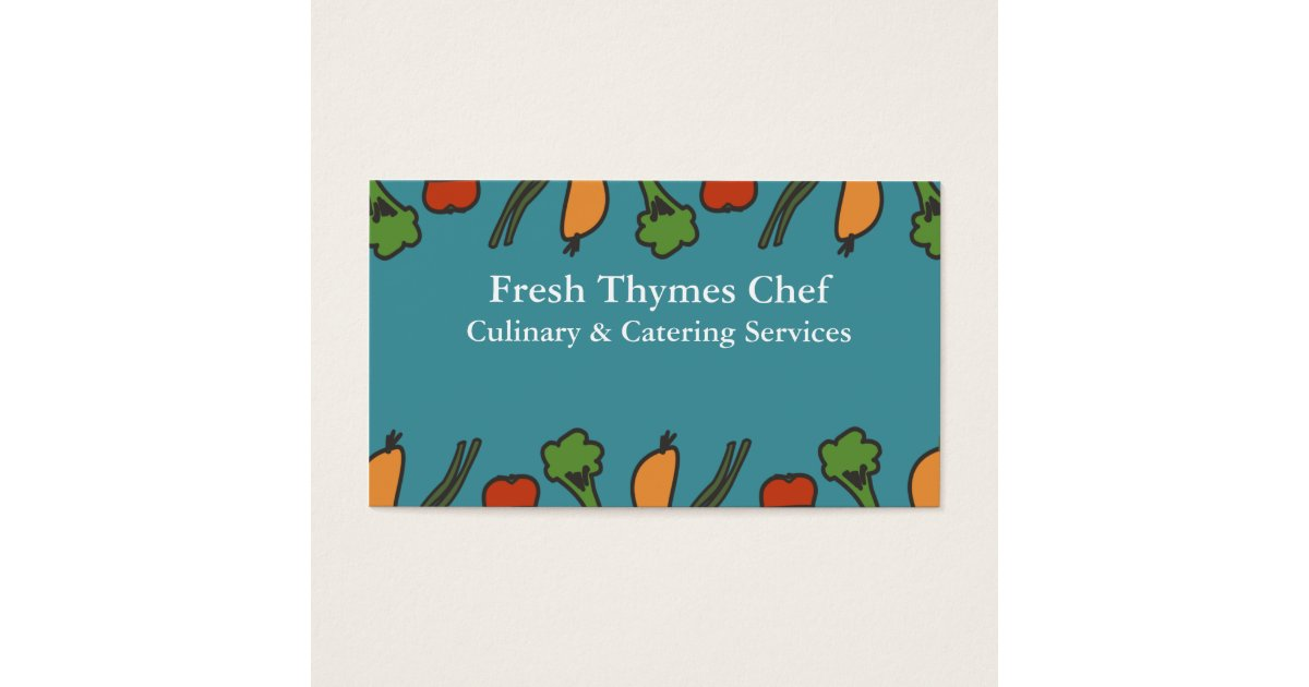 Line vegetables vegan chef catering business cards | Zazzle.com